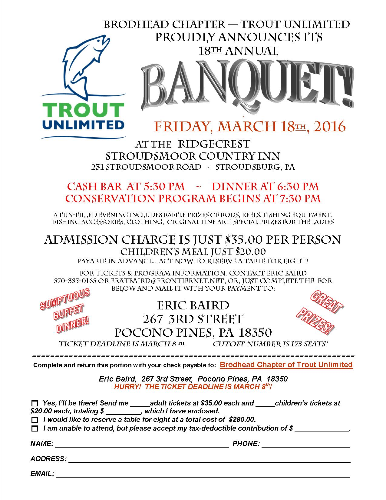Tickets available for the 18th annual brodhead chapter of for Pa fishing license prices